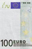 Cientos primers del billete de banco del euro Foto de archivo libre de regalías