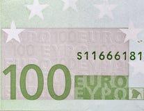 Cientos primers del fragmento del billete de banco del euro Fotografía de archivo libre de regalías