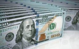 Cientos profundidades del billete de banco del dólar del campo Imágenes de archivo libres de regalías