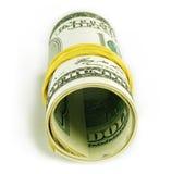 Cientos rodillos de la cuenta de dólar Fotos de archivo libres de regalías