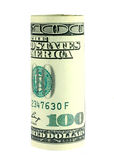 Cientos rodillos de la cuenta de dólar Foto de archivo libre de regalías