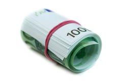 Cientos rodillos euro de los billetes de banco Fotografía de archivo libre de regalías