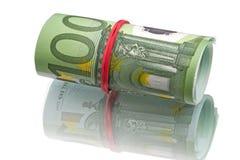 Cientos rollos euro de los billetes de banco Foto de archivo