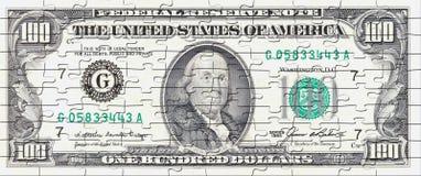 Cientos rompecabezas de la cuenta de dólar Imagenes de archivo