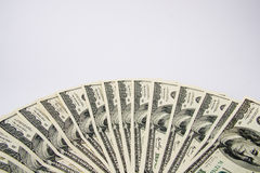 Cientos ventiladores de las cuentas de dólar Foto de archivo libre de regalías