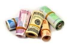 Cientos y doscientas liras turcas y dólares en el backgr blanco Fotografía de archivo