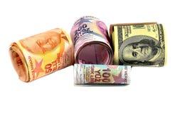Cientos y doscientas liras turcas y dólares en el backgr blanco Imagenes de archivo