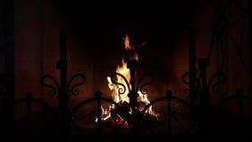 Ciepła i wygodna graba z płonącymi drewnami robić zbiory wideo