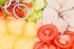 Ciepła mięsna sałatka z warzywami Zdjęcia Royalty Free