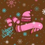 Ciepła ręka rysująca zim ubrań ilustracja Fotografia Stock