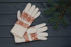 Ciepłe rękawiczki lub mitynki z jedlinowymi gałąź na drewnianym tle Zdjęcia Royalty Free