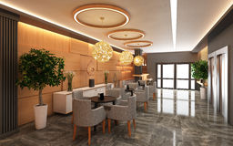 Ciepły hotelu lobby z drewno ścianą Zdjęcie Royalty Free