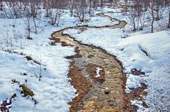 Ciepły strumień w zimnym krajobrazie obrazy royalty free