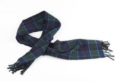 Ciepły zielonawoniebieski wełna szalik na białym tle Zdjęcie Royalty Free