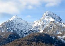 Ciepła zima w górach Krasnaya Polyana, Sochi Obrazy Royalty Free