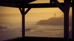 Ciepli promienie słońce zaświecają up losu angeles Jolla linię brzegową w wczesnym poranku Zdjęcia Stock