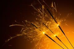 Cierges magiques brûlés de partie Images libres de droits
