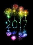 Cierges magiques de feu d'artifice de 2017 bonnes années Photo stock