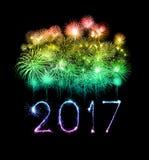 Cierges magiques de feu d'artifice de 2017 bonnes années Image stock