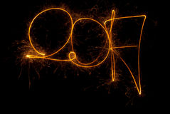 Cierges magiques de l'inscription 2017 de bonne année Photo libre de droits