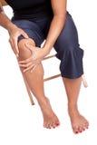 cierpienie jej kolanowa bólowa kobieta Obraz Stock