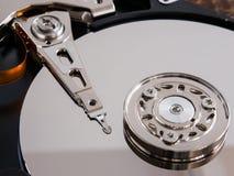 Cierre abierto de la unidad de disco duro encima del tiro Foto de archivo