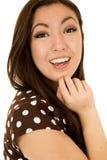 Cierre adolescente americano asiático del retrato de la muchacha encima de feliz Fotos de archivo
