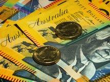 Cierre australiano del dinero para arriba en palabras imagen de archivo libre de regalías