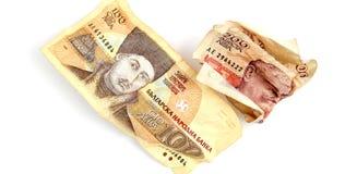 Cierre búlgaro del dinero para arriba DOF bajo Foto de archivo