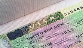 Cierre BRITÁNICO de la visa para arriba fotos de archivo