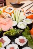Cierre colorido grande del sistema del sushi para arriba Foto de archivo