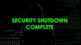 Cierre completo, cyberattack de la seguridad en el sistema de defensa nacional, terrorismo imágenes de archivo libres de regalías
