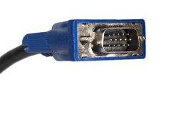 Cierre D-sub del cable del monitor de VGA para arriba en blanco fotografía de archivo libre de regalías