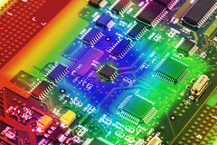 Cierre de alta tecnología de la placa de circuito para arriba, macro concepto de tecnología de la información Imagenes de archivo