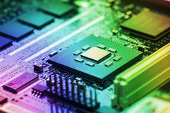 Cierre de alta tecnología de la placa de circuito para arriba, macro concepto de tecnología de la información Fotos de archivo libres de regalías
