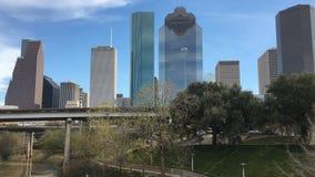 cierre de 4K UltraHD para arriba horizonte de la Houston, Tejas almacen de metraje de vídeo