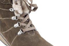 Cierre de la bota del invierno de la mujer para arriba Fotos de archivo
