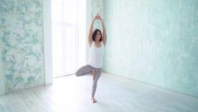 Cierre de la cámara lenta para arriba: actitud del árbol, manos en Namaste Presentación de la muchacha de la yoga - actitud del á almacen de video