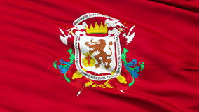 Cierre de la ciudad de Caracas para arriba que agita la bandera ilustración del vector