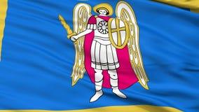 Cierre de la ciudad de Kiev para arriba que agita la bandera ilustración del vector