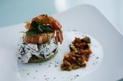 Cierre de la comida del restaurante de los mariscos para arriba Foto de archivo libre de regalías