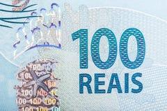Cierre de la cuenta de cientos reais para arriba Imagen de archivo libre de regalías