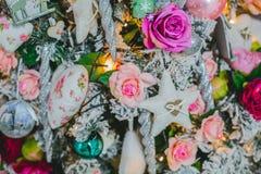 Cierre de la decoración del árbol de navidad para arriba Imagen de archivo libre de regalías