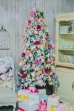 Cierre de la decoración del árbol de navidad para arriba Fotos de archivo