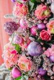 Cierre de la decoración del árbol de navidad para arriba Foto de archivo