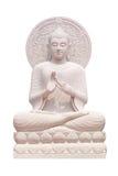 Cierre de la estatua de Buda para arriba aislado contra blanco Imagen de archivo