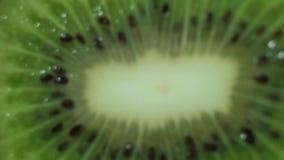 Cierre de la fruta de kiwi encima de la macro almacen de video