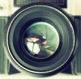 Cierre de la lente de cámara del vintage para arriba Fotos de archivo