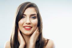 Cierre de la muchacha del adolescente de la belleza encima del retrato Imágenes de archivo libres de regalías