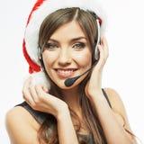 Cierre de la mujer de Christmass Papá Noel encima del retrato de la cara Mujer de negocios w Fotografía de archivo